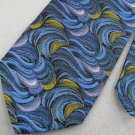Vintage Wemlon Wembley Abstract Waves Texture 60s 70s Blue Blk Mens Neck Tie #EV