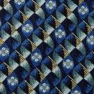 CLAIBORNE OVALS BLUE GREY YELLOW SILK MEN NECK TIE Men Designer Tie EUC