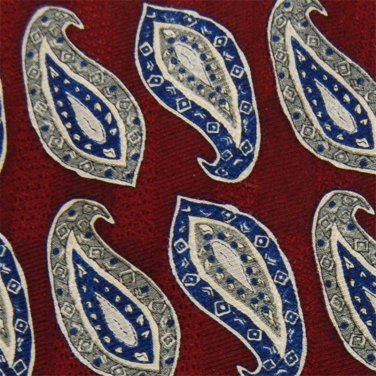 FERRELL REED PAISLEYS RED BLUE OLIVE SILK MEN NECK TIE Men Designer Tie EUC