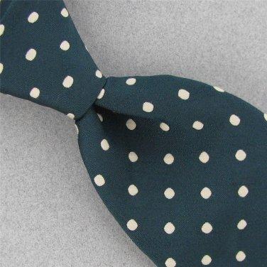 Vtg BEAU BRUMMEL Drak Green Polka Dot Fat Texture 60s 70s Mens Neck Tie #V-4 EVC