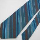 Vintage Liberty Of London Narrow Turquoise Gray Silver Silk Tie Necktie #EV