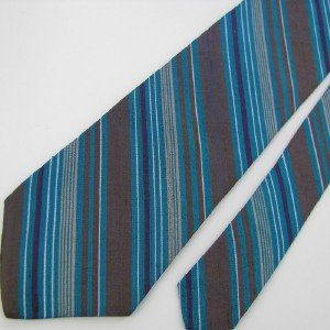 Vintage Liberty Of London Narrow Turquoise Gray Silver Silk Tie Necktie #EV