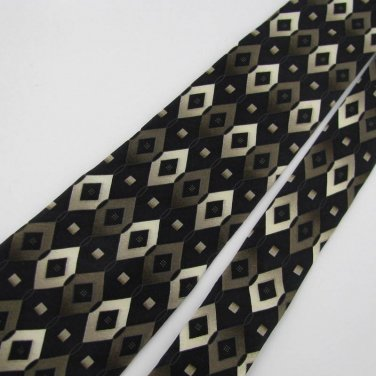 New BOY/CHILD BERGAMO SQUARE BLACK BROWN IVORY SILK Men Tie Men Designer Tie EUC