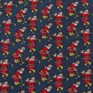 #1A HALLMARK Christmas Santa Holiday GOLF STRIPE NAVY RED GOLD  Necktie Tie