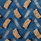 #1A STAFFORD ITALY WAVES BLUE YELLOW GREY SILK Men Designer  TIE NECKTIE