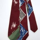 RUFFINI ART DECO MAROON BLUE, GREEN 100% SILK MEN NECK TIE Men Designer Tie EUC