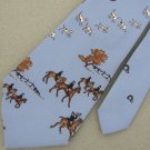 Vtg Rare Royal Knight English Horse Rider Dogs Sky/Blue Narrow 70s Neck Tie #VE