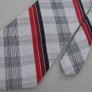 Vintage Jonny Carson Stripe Plaid Red GrayTexture 60's 70's 1970 Neck Tie #EV