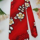PACIFIC LEGEND RED WHITE FLORAL COTTON Neck Tie Men Designer Tie EUC