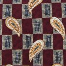 CLAYBROOKE CHECKERED Paisley MAROON GREY YELLOW NECK TIE Men Designer Tie EUC