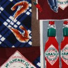 #1A TABASCO SHRIMP MAROON BLUE RED LOGO SILK TIE NECKTIE