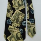 New ADDICTION MONEY BILLS BLACK GREEN MEN NECK TIE Men Designer Tie EUC