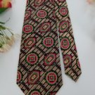 #1A THAI SILK TAN PINK GREEN BLACK SHAPES Men Neck Tie