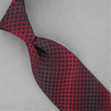 ALFANI BLACK RED GEOMETRIC PLAID SILK MENS NECKTIE TIE #HG-7 Excellent