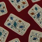 ISACO RECTANGLES RED BEIGE BLUE SILK ITALY MEN NECK TIE Men Designer Tie EUC