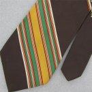 Vtg  Platypus Wembley Brn Grn Stripe Shield Fat Gloss Texture 70s Neck Tie #V-4