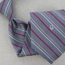 Vtg Christian Dior Monogram Skinny Stripe Gray Red Gold Men 70s Neck Tie V-4 EVC