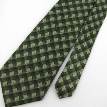 New ARROW STRIPE SQUARE GREEN BLACK SKY-BLUE SILK Neck Tie Men Designer Tie EUC