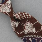 Kipper Horse Head Houndstooth Horn Brown Blue Texture 60s 70s Men Neck Tie #V-4