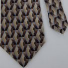 New ARROW BROWN TAN BEIGE DIAMOND ART DECO MEN NECK TIE Men Designer Tie EUC