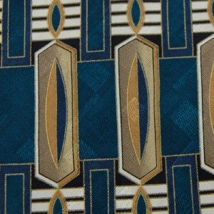 #1A L'HOMME OVALS TEAL BROWN BLUE WHITE SILK MEN NECK TIE