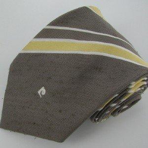 #1A Vintage Cardin Pierre Cardin Stripe DimGray Gold White Men Neck Tie Necktie