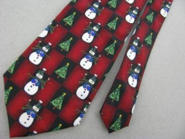 New Hallmark Christmas Checkered Snowman Scarf  Candy Cane Tree Neck Tie Lot#A