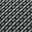 #1A New Henry Grethel USA Woven Rectangle Stripe Black Silver  Tie NECKTIE