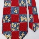 GINO POMPEII CHECKERED RED BLUE YELLOW Mens SILK NECK TIE Men Designer Tie EUC