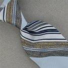 Vtg Rare Designer Sky Navy Blue Wht Stripe Texture 60s 70s Men Neck Tie #V-4 EVC
