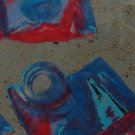 DOMANI ITALY ABSTRACT BLUE OLIVE RED SILK NECK TIEMen Designer Tie EUC