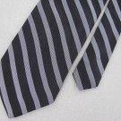 DKNY Woven Black Silk Mens Stripe Neck Tie Men Designer Tie EUC