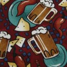 #1A New Tabasco USA Beer Chips Chile Maroon Brown White Navy  Silk MEN NECKTIE