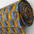 #1A FERRELL REED USA SQUARE CHECKER GOLD BLUE BROWN  Men SILK Neck Tie Necktie
