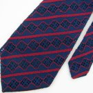 Vtg Rare Lace Knitted Wave Stripe Texture Blue Red  60s 70s Mens Neck Tie #VE