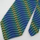 Vtg Wemlon Wembley Blue Grn Yellow Stripe Wave Texture 60s 70s Mens Neck Tie #VE
