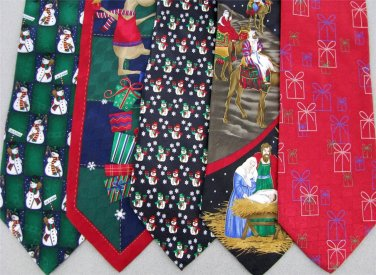 2 Christmas Xmas Holiday Silk Men's Ties Necktie Neck Tie Lot #LO