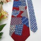 #1A New MORTON THOMAS USA SQUARE RECTANGLE RED BLUE PURPLE GREY Tie NECK TIE