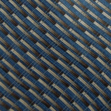 MURANO STRIPE BROWN BLUE GREY SILK MEN NECK TIE Men Designer Tie EUC