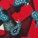 STATUS PAISLEY RED BLACK TEAL GREY SILK TIE NECKTIE Men Designer Tie EUC