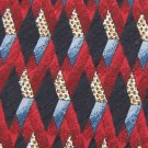 BILL ROBIN SON DIAMONDS RED BLUE BLACK SILK NECK TIE Men Designer Tie EUC