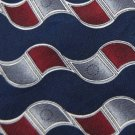 PURITAN DarkBlue MAROON WAVES PATTERN SILK NECK TIE Men Designer Tie EUC