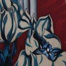 J BLADES TULIP FLORAL FLOWER MAROON TEAL GRAY NECK TIE Men Designer Tie EUC