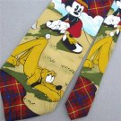 #1A New Disney Mickey Christmas Santa Snow Holiday Plaid Silk Necktie Neck Tie