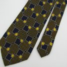 #1A New XYZ INC SQUARE STRIPE BROWN NAVY WHITE  SILK MEN Neck Tie NECKTIE