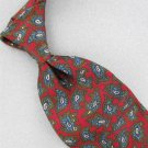 VINTAGE WEMBLEY BLUE RED FLORAL PAISLEY WIDE SILK 60s 70s Neck Tie #V-2