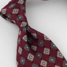 New COVINGTON MAROON GEOMETRIC CHECK NECK TIE Men Designer Tie EUC