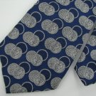 Vintage Rare Queen head Coin Circle Blue Silver Texture 60s 70s Men Neck Tie VA1