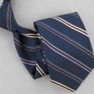 Vtg Rare Lanvin Stripe Logo Steel Blue Red Narrow 60s 70s Mens Neck Tie #V-4 EVC