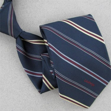 Vtg Rare Lanvin Stripe Logo Steel Blue Red Narrow 60s 70s Mens Neck Tie #V-4 EVC